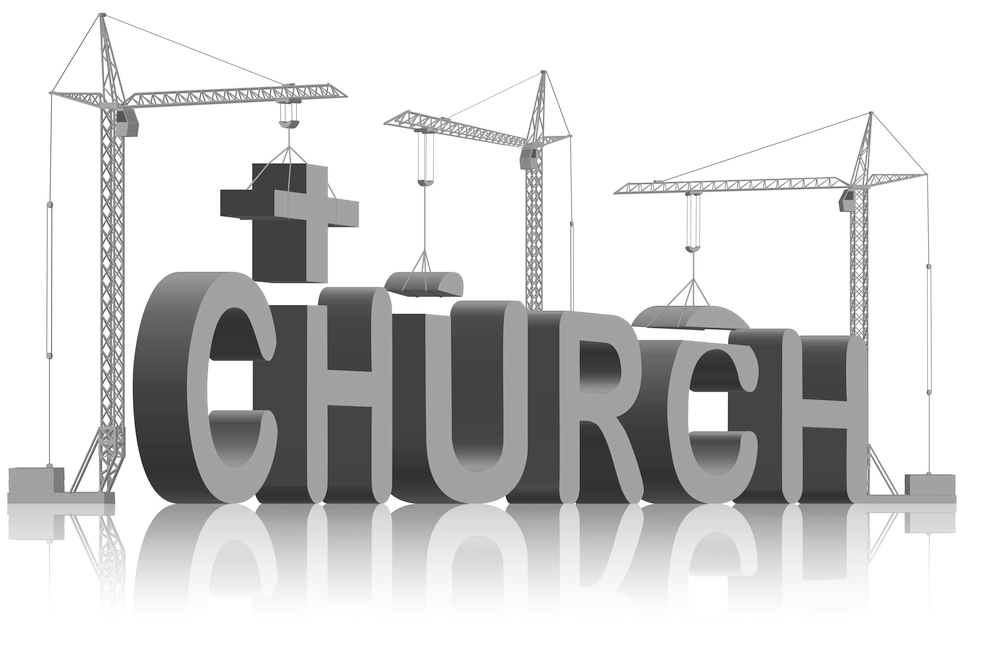 "The word ""church"" with cranes surrounding it as if it is being built."