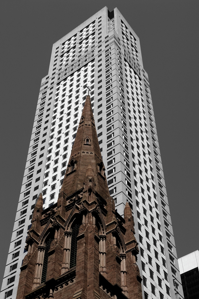 Old tower of the Presbyterian Church in front of a skyscraper, Fifth Avenue, Midtown, New York City, New York, United States, North America