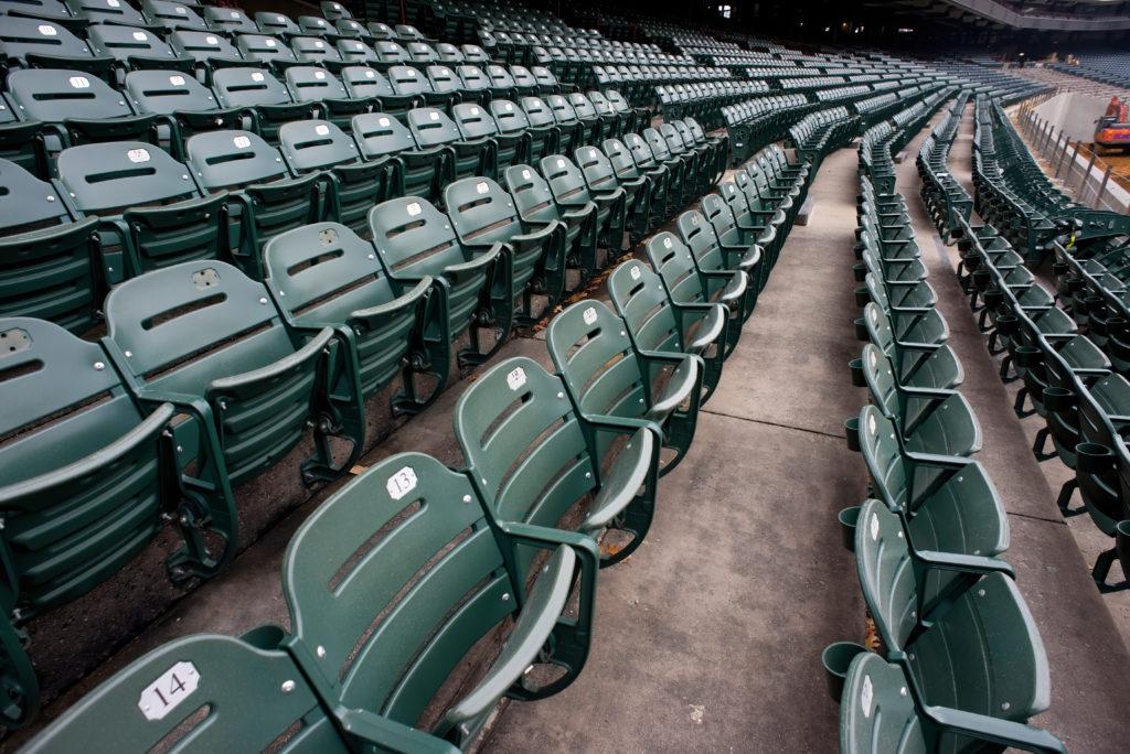 empty sports stadiium seats